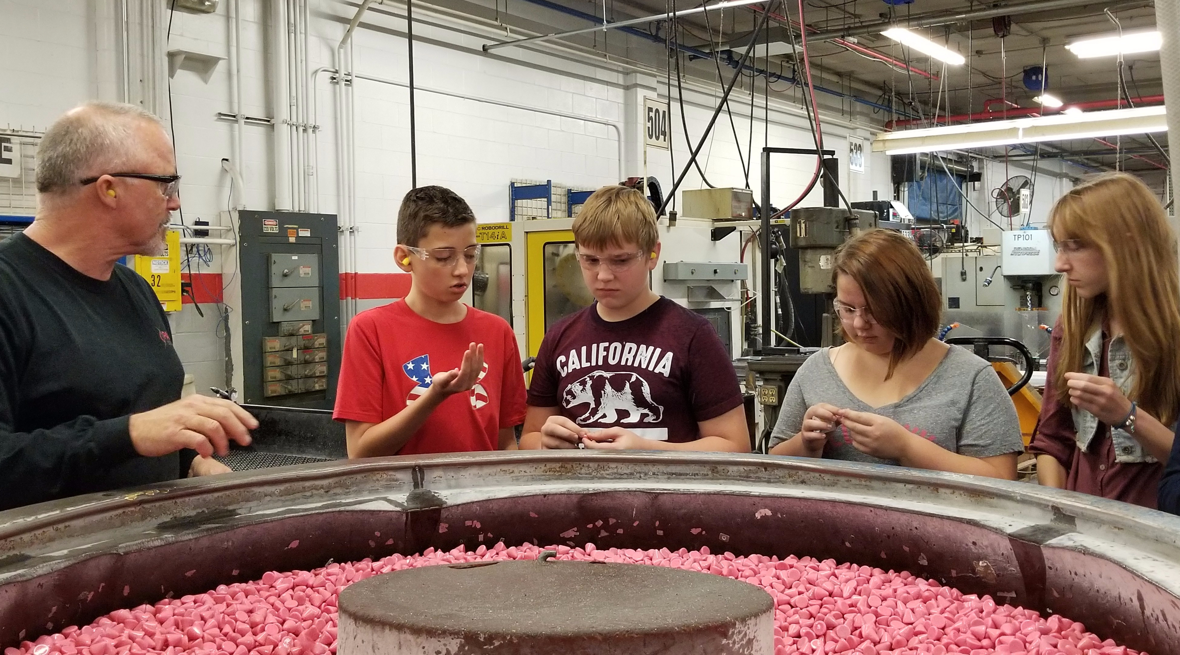 Kids at Pace Industries for Mfg Day